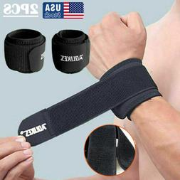 2x Adjustable Sports Pain Relief Wrist Support Brace Strap C