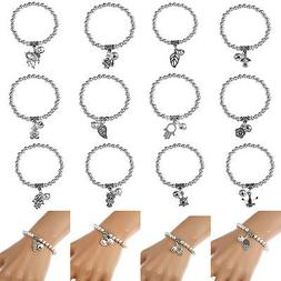 Antique Silver Bead Beaded Bracelet With Small Bell Charms W