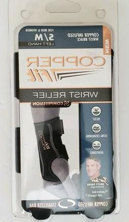 Copper Fit Compression Wrist Brace S/M Left Hand Stabilizer