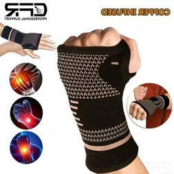 Copper Carpal Tunnel Wrist Support Brace Hand Arthritis Spor