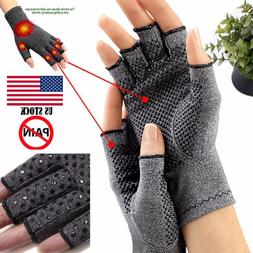 Copper Compression Fingerless Gloves Carpal Support Hand <fo