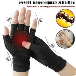 Copper Compression Fit Arthritis Gloves Joint Hands Carpal W