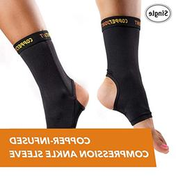 CopperJoint Copper-Infused Compression Ankle Sleeve, High-Pe