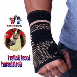 Copper Palm Hand Brace Compression Wrist Support Protector W