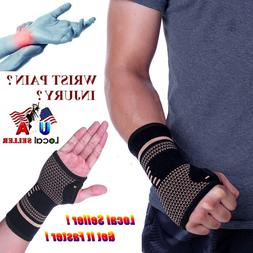 Copper Wrist Brace Hand Support Gloves Carpal Tunnel Splint