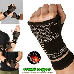 Copper Wrist Brace Support Compression Sleeve Arthritis Fit