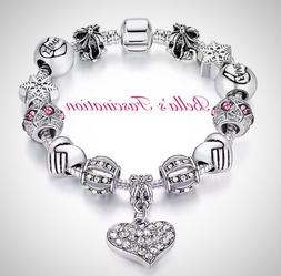 Crystal Heart Blessed Love Charm Bracelet Pandora Clasp Silv