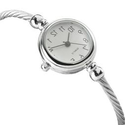 Fashion Women Silver Quartz Wrist Watch Bracelet Small Arabi