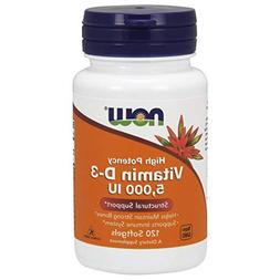 Now Foods Vit D-3 5000 IU 120 Softgels- 3 Pack