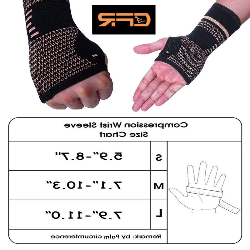 Copper Wrist Brace Support Gloves Splint Sprain Pain US