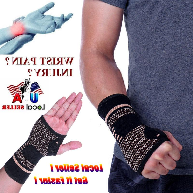 copper wrist brace hand support gloves carpal