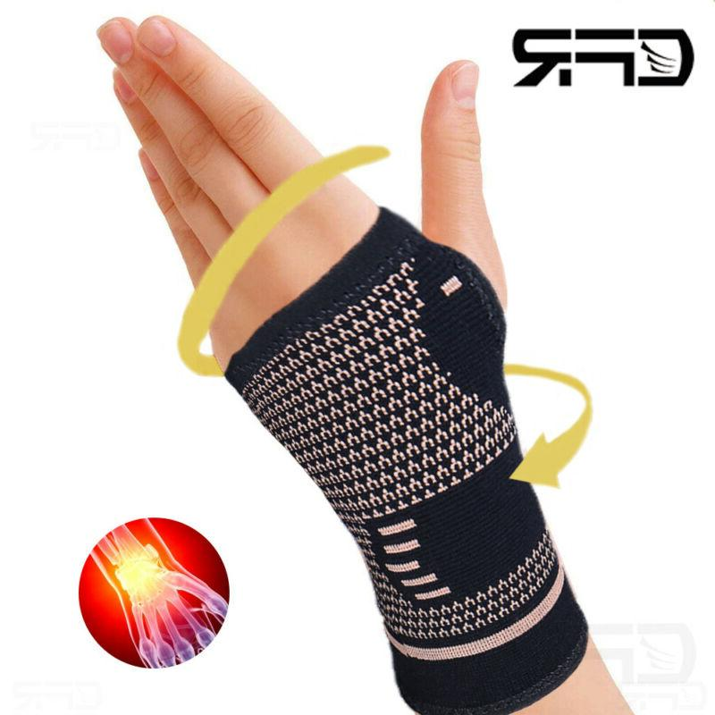 copper wrist brace support compression sleeve arthritis