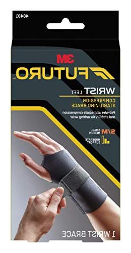 Futuro Wrist Support, Helps Carpal Tunnel Stabilizing Support, Left Small/Medium, Black