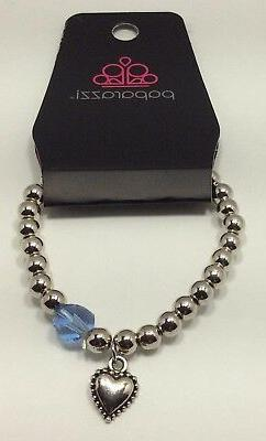 "silver heart charm bracelet blue bead stretch 5"" small wrist"