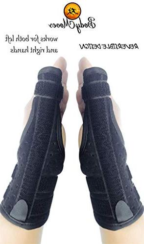 BodyMoves Thumb Splint Brace Plus and Cold for Tendonitis, Tunnel, Adjustable Reversible
