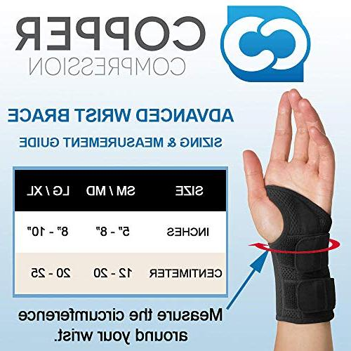 Copper Wrist - Guaranteed Copper Content for Carpal Arthritis, Night and Splint for and Women Fit and Left Hand