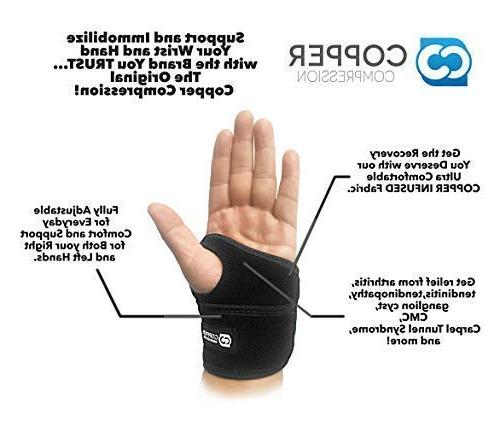 and Brace Guaranteed Support for Wrists, Tunnel, Tendonitis. Sleeve for and Women and Hand