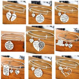 Silver Charm Adjustable Women's Expandable Bangle Wire Wrapp