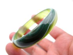 Small Wrist Natural Green Agate Jade Bangle Bracelet Inner D